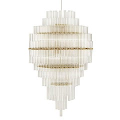 Blass Chandelier Designed by Studio Drift for Ceccotti in Brass and Glass
