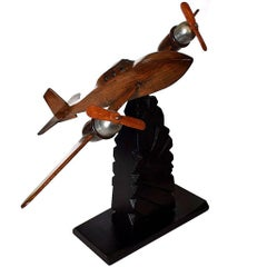 French Art Deco Desk Ornament Airplane by Anthoine Art Bois
