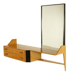 Dressing Table with Mirror Drawers Maple Veneer Brass Handles Italy, 1950s-1960s