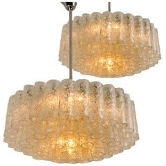 Pair of Elegant Doria Chandeliers, 60 Glass Tubes and Six Reserve, 1960s