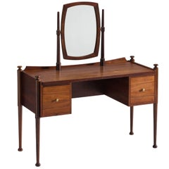 Danish Free Standing Vanity Table in Rosewood and Brass, 1950s