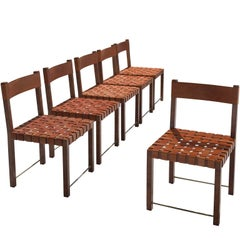 Six Chairs with Cognac Leather Back and Seat