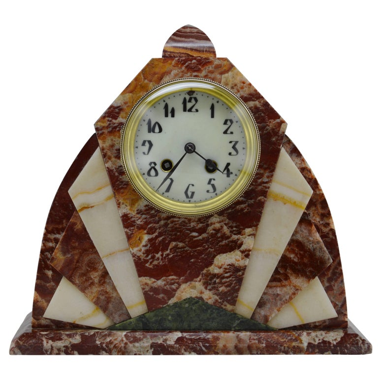French Art Deco Marble Mantel Clock 1920 At 1stdibs