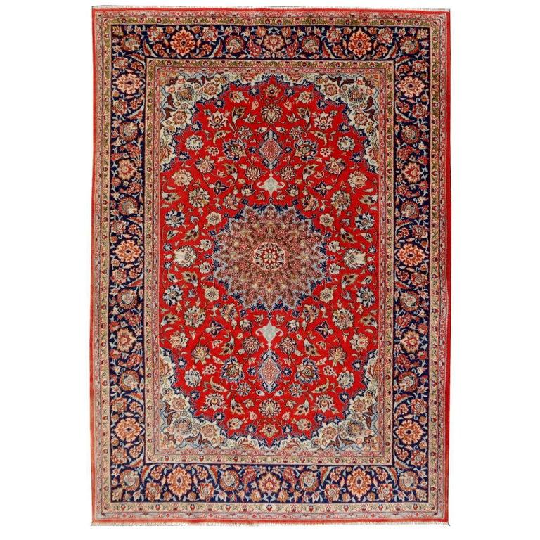 Isfahan Persian Wool and Silk Rug 1