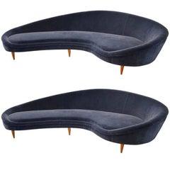 Huge Pair of Italian Reupholstered Armchair