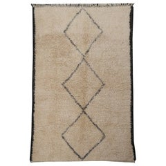 Contemporary North African Moroccan Berber Rug Ivory and Dark Brown