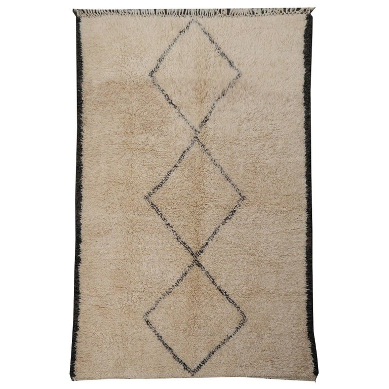 Contemporary North African Moroccan Berber Rug Ivory and Dark Brown 1