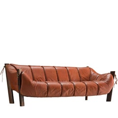 Percival Lafer Three-Seat Sofa in Red Leather