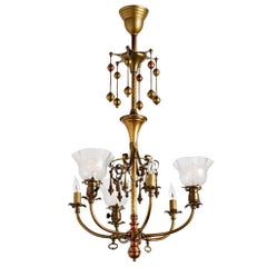 Remarkable Six-Light Gas Electric Chandelier W/ Dangling Ornaments, circa 1905