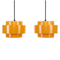JUNO, Sunny Yellow Pendant Pair by Jo Hammerborg in 1969 for Fog & Morup