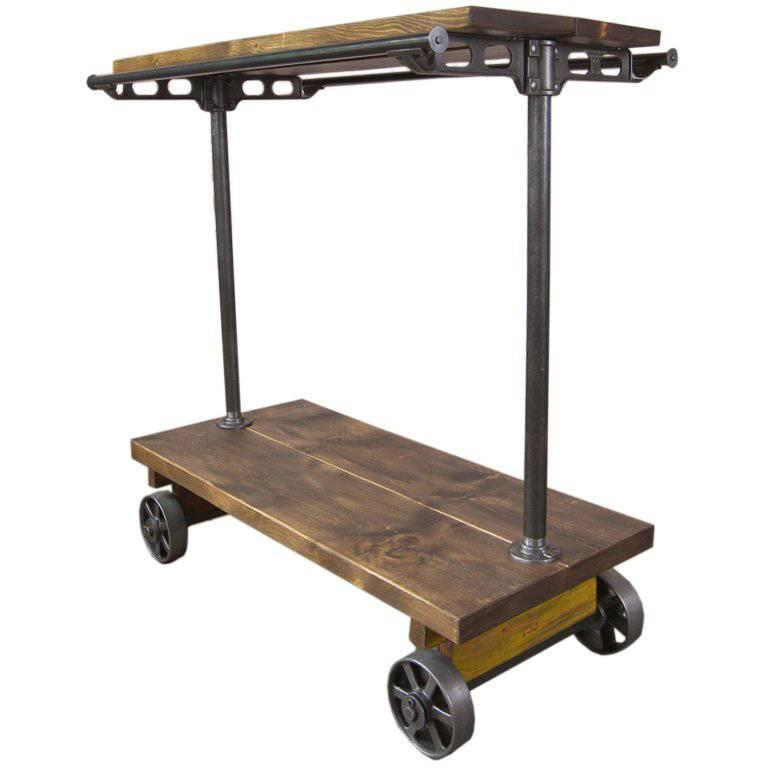 Retail Garment Hanging Rolling Rack / Cart on Castors, Cast Iron and Wood