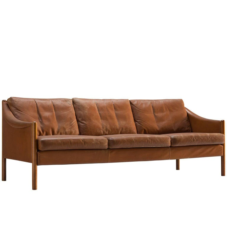 Danish Cognac Leather Sofa 1