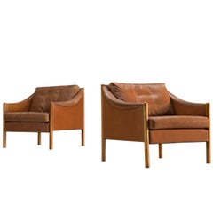 Two Danish Armchairs in Cognac Leather