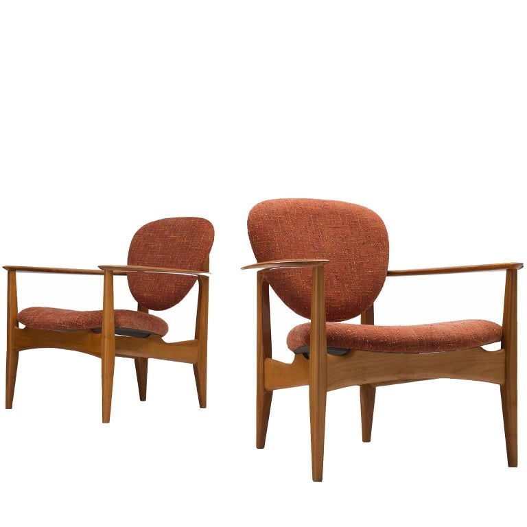 Danish Soft Red and Solid Oak Armchairs