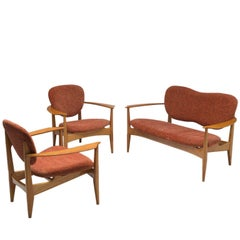 Danish Delicate Living Room Set with Wooden Frame