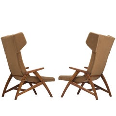 Set of Two High Wingback Chairs, 1950s