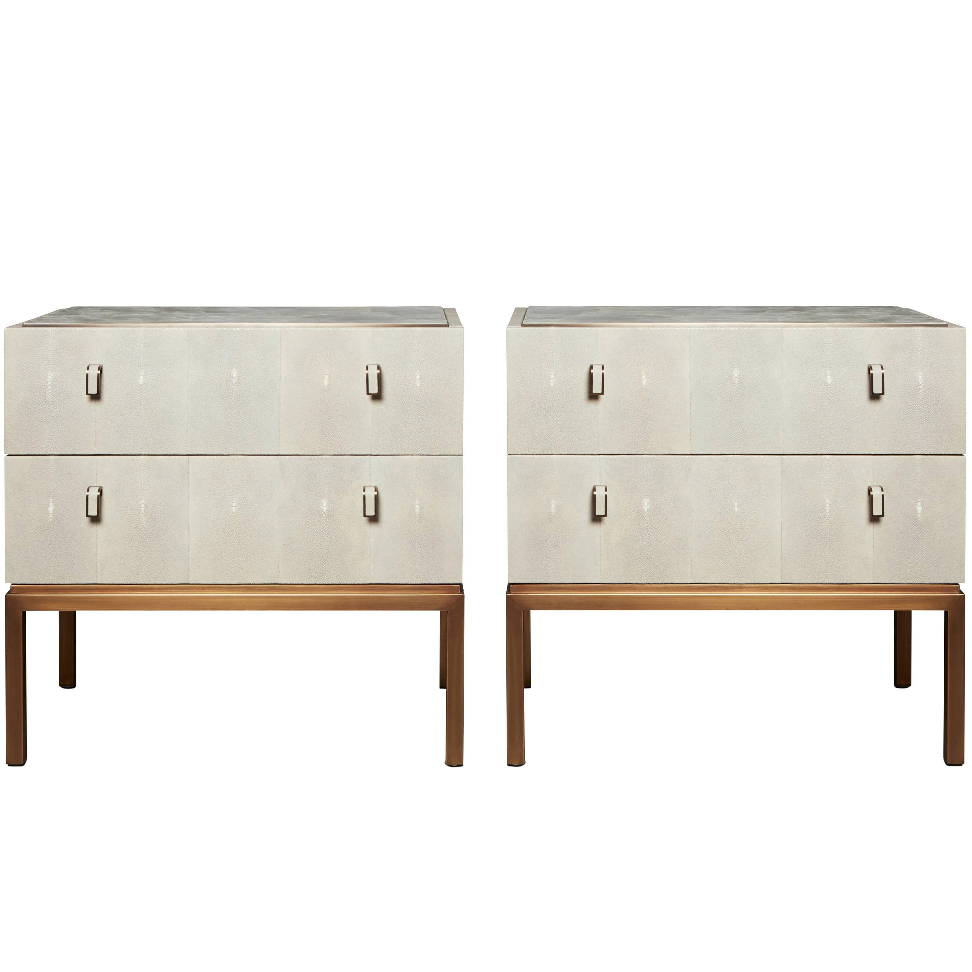 Lovely Water Nightstands With Shagreen, Selenite Crystal And Patinated Bronze, Pair