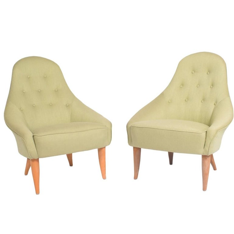 "Pair of ""Eva"" Easy Chairs by Kerstin Hörlin-Holmquist for NK For Sale"