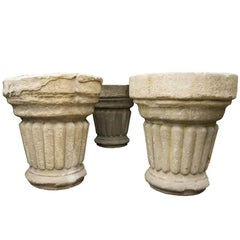 French Reconstituted Stone Pillar Style Planters, circa 1910