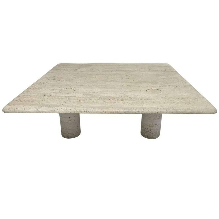 Rare Angelo Mangiarotti Travertine Coffee Table for Up&Up, Italy For Sale
