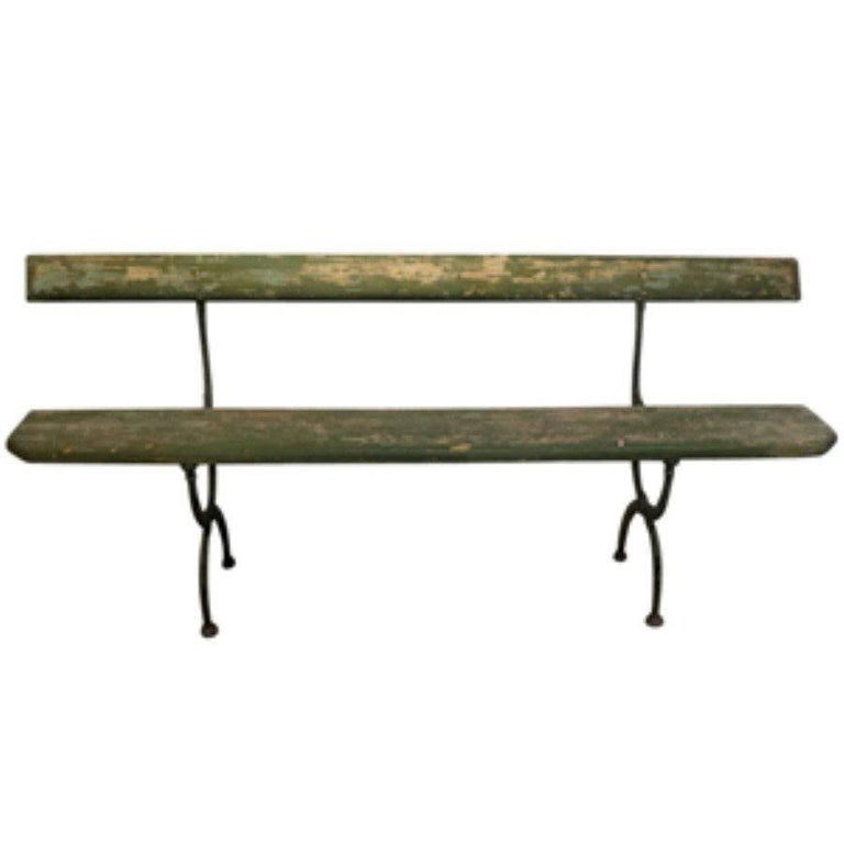 Antique French Wood and Cast Iron Bench, circa 1900