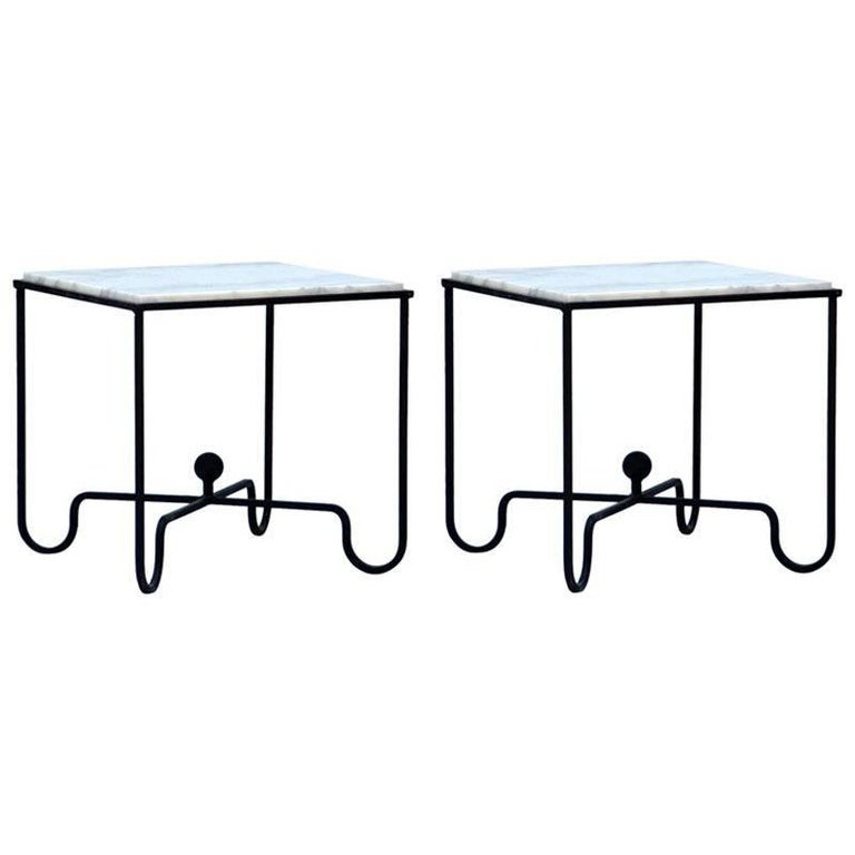 Pair of Wrought Iron and Marble 'Entretoise' Side Tables by Design Frères For Sale
