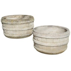 Pair of French Cast Cement Barrel Planters, circa 1960