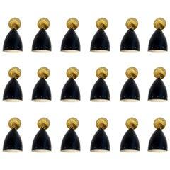 1 of 24 Adjustable Black Italian Sconces Metal and Brass Stilnovo Style