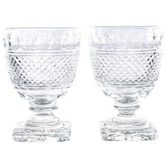 Ten Heavy Cut Glass Water Goblets, circa 1890s, England