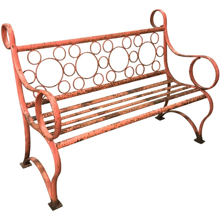 Orange Iron Bench, England, 1940s