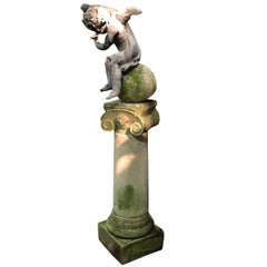 Regency Leaded Cherub on Limestone Column, England, circa 1820