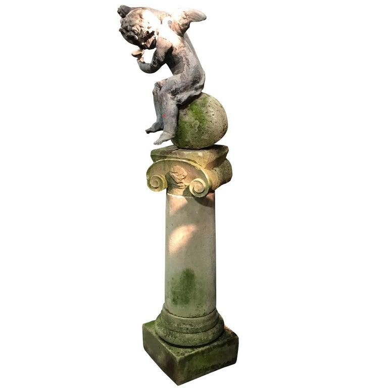 Regency Leaded Cherub on Limestone Column, England, circa 1820 For Sale