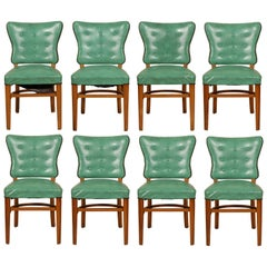 Set of Eight Vintage Vinyl Side Chairs