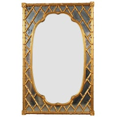 Faux Bamboo Carved and Gilt Mirror