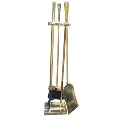 Midcentury Brass Three-Piece Fire Tool Set