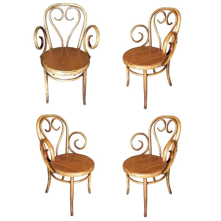 Thonet Scrolling Bentwood Armchair, Set of Four