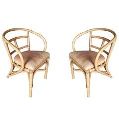 Midcentury Hoop Armchair Dining Chair Stick Rattan, Pair
