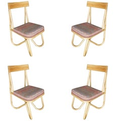 "Mid-Century Bent ""Loop"" Rattan Dining Side Chair with Pink Seat, Set of Four"