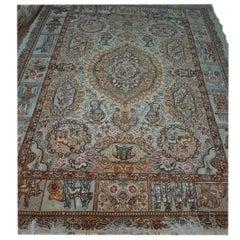 Fahouri Zir Khaki, Designer Fahouri, Persian Tabriz Silk and Wool Rug