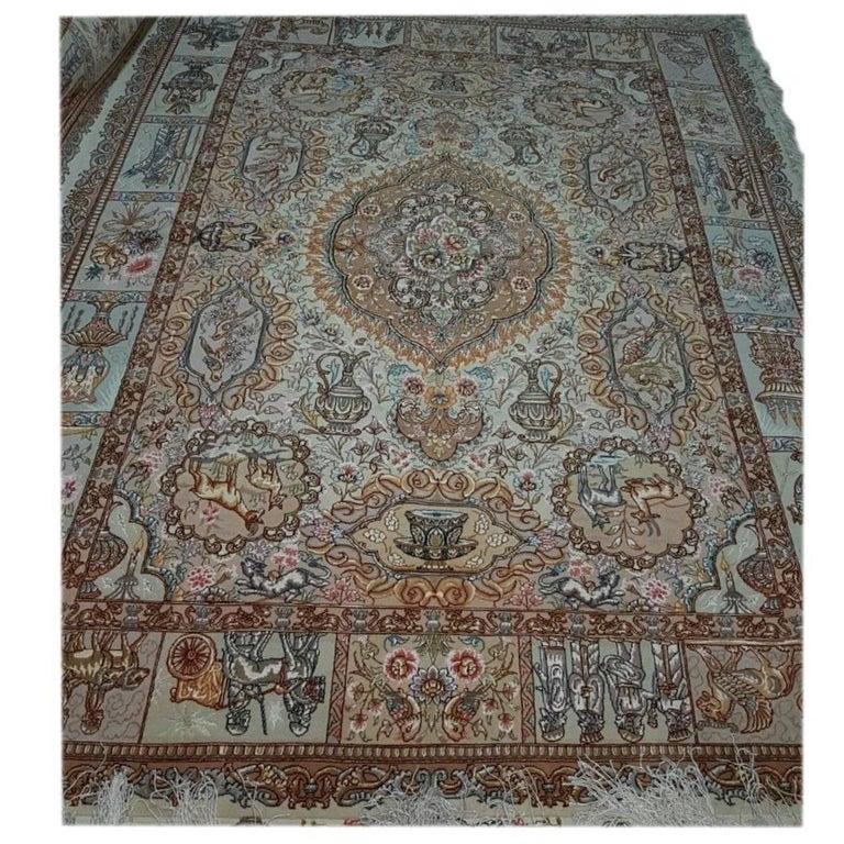 Fahouri Zir Khaki Designer Persian Tabriz Silk And Wool Rug For
