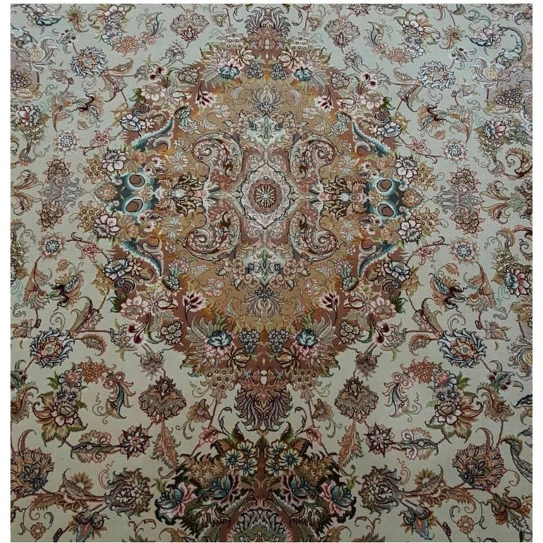 Novinfar Pink-Designer Master Novinfar, Genuine Persian Tabriz Silk and Wool Rug