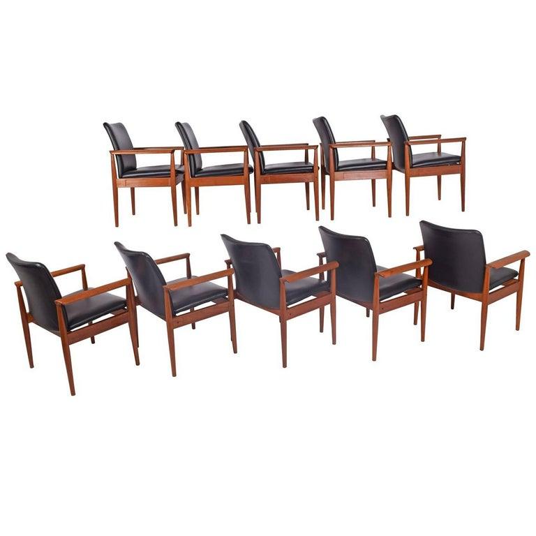 Set of Ten Diplomat Armchairs by Finn Juhl for France & Son