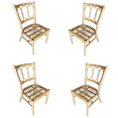 Midcentury Three Ring Rattan Dining Side Chair, Set of Four