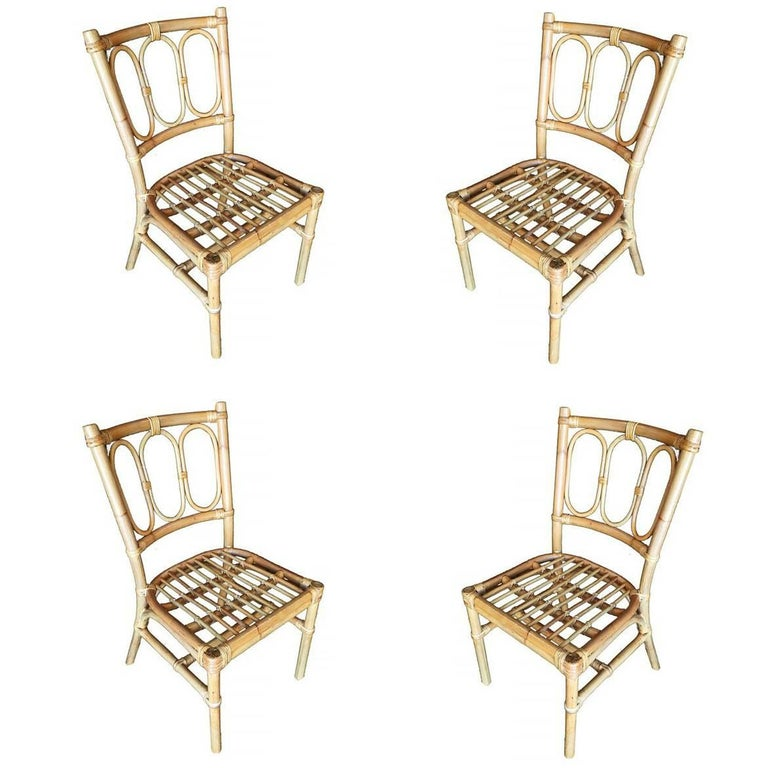 Restored Mid-Century Three Ring Rattan Dining Side Chair, Set of Four