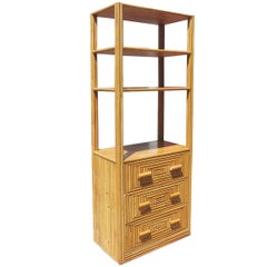 Restored Mid-Century Rattan and Mahogany Display Cabinet with Drawers