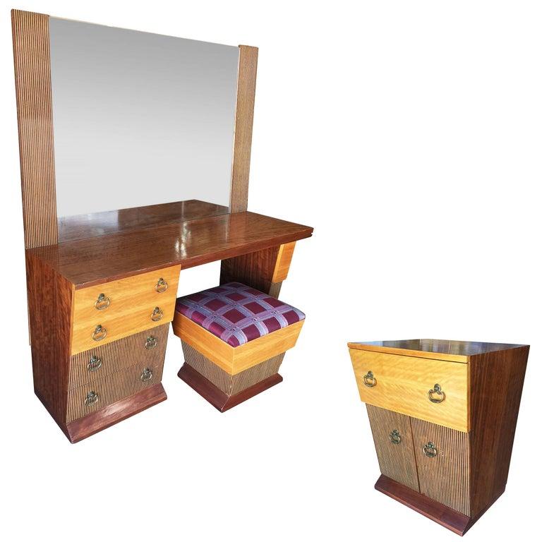 Asymmetrical Mid-Century Bedroom Set, Vanity