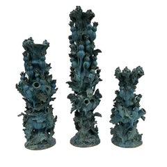 Matthew Solomon Set of Three Thistle Ceramic Candlesticks