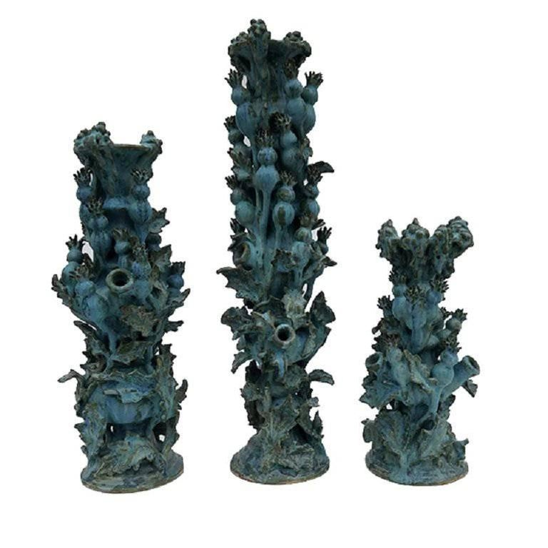 Matthew Solomon Set of Three Thistle Ceramic Candlesticks For Sale