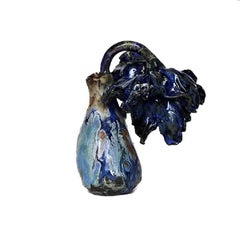 Matthew Solomon Ceramic Bud Vase, Dark and Light Blue with Floral Detail