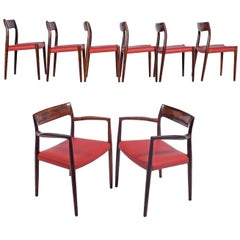 Set of Eight Rosewood Chairs by Niels O. Møller for J. L. Møller